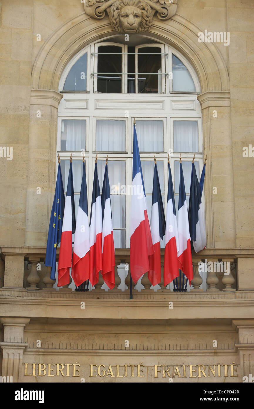 French flags, Paris, France, Europe - Stock Image