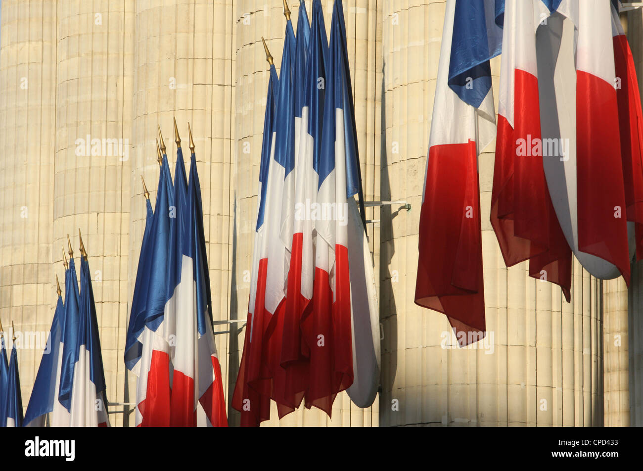 French flags outside the Pantheon, Paris, France, Europe - Stock Image