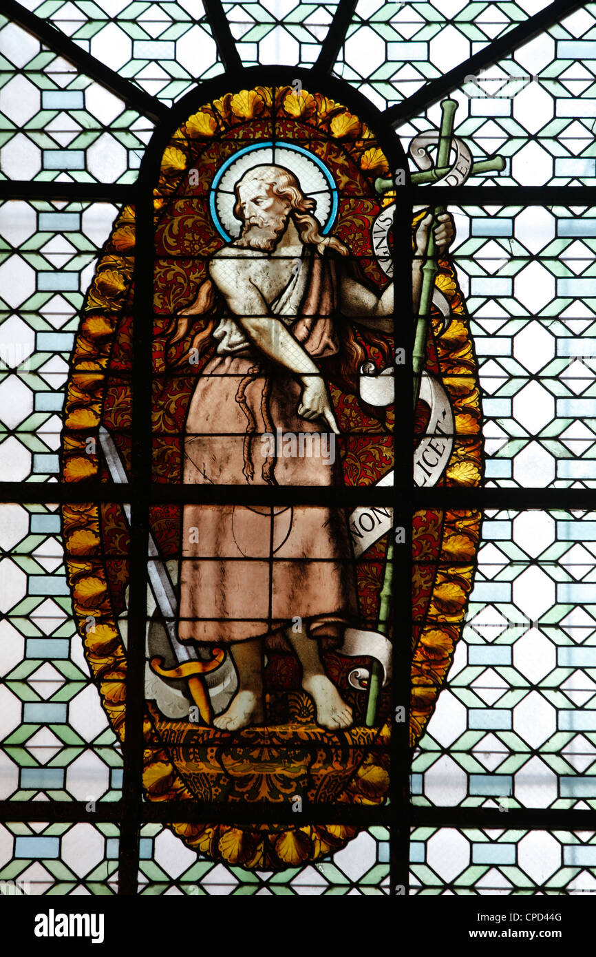 Stained glass in St. Sulpice basilica, Paris, France, Europe - Stock Image