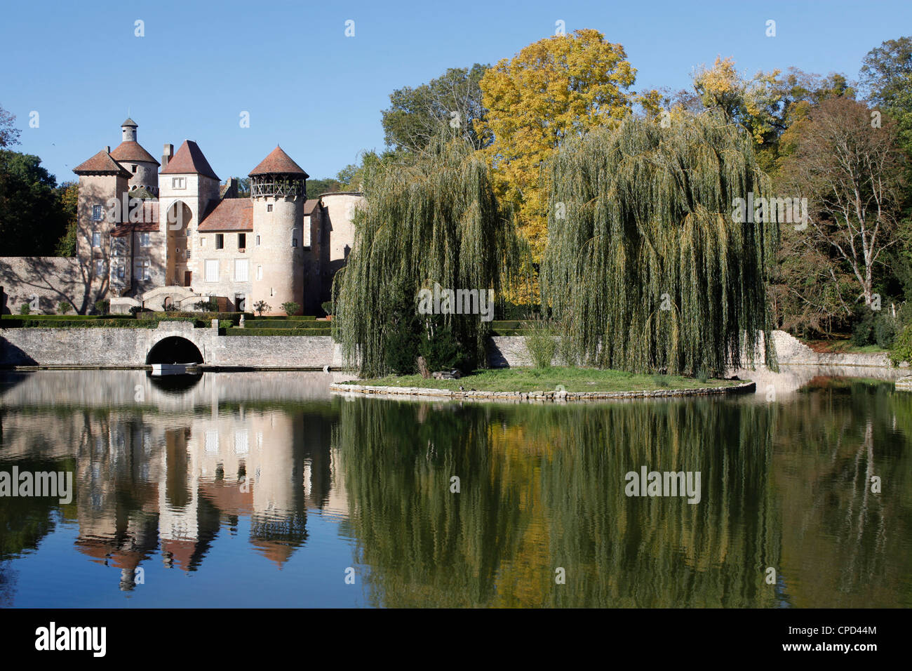 Sercy castle, dating from the 15th century, Sercy, Saone-et-Loire, Burgundy, France, Europe - Stock Image