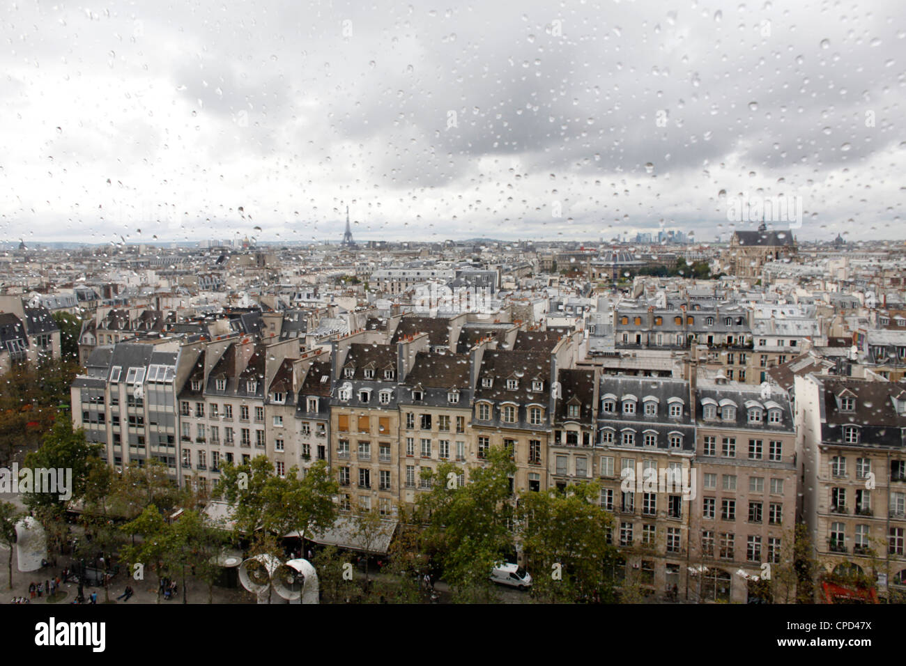 View from the Pompidou Centre on a rainy day, Paris, France, Europe - Stock Image