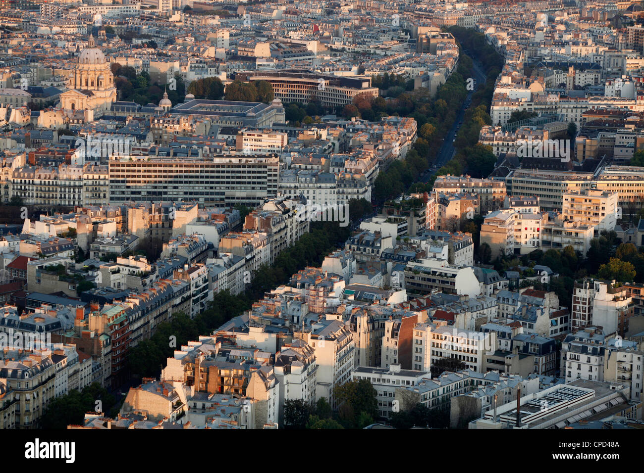 Aerial view of Paris showing Boulevard Montparnasse, Paris, France, Europe - Stock Image