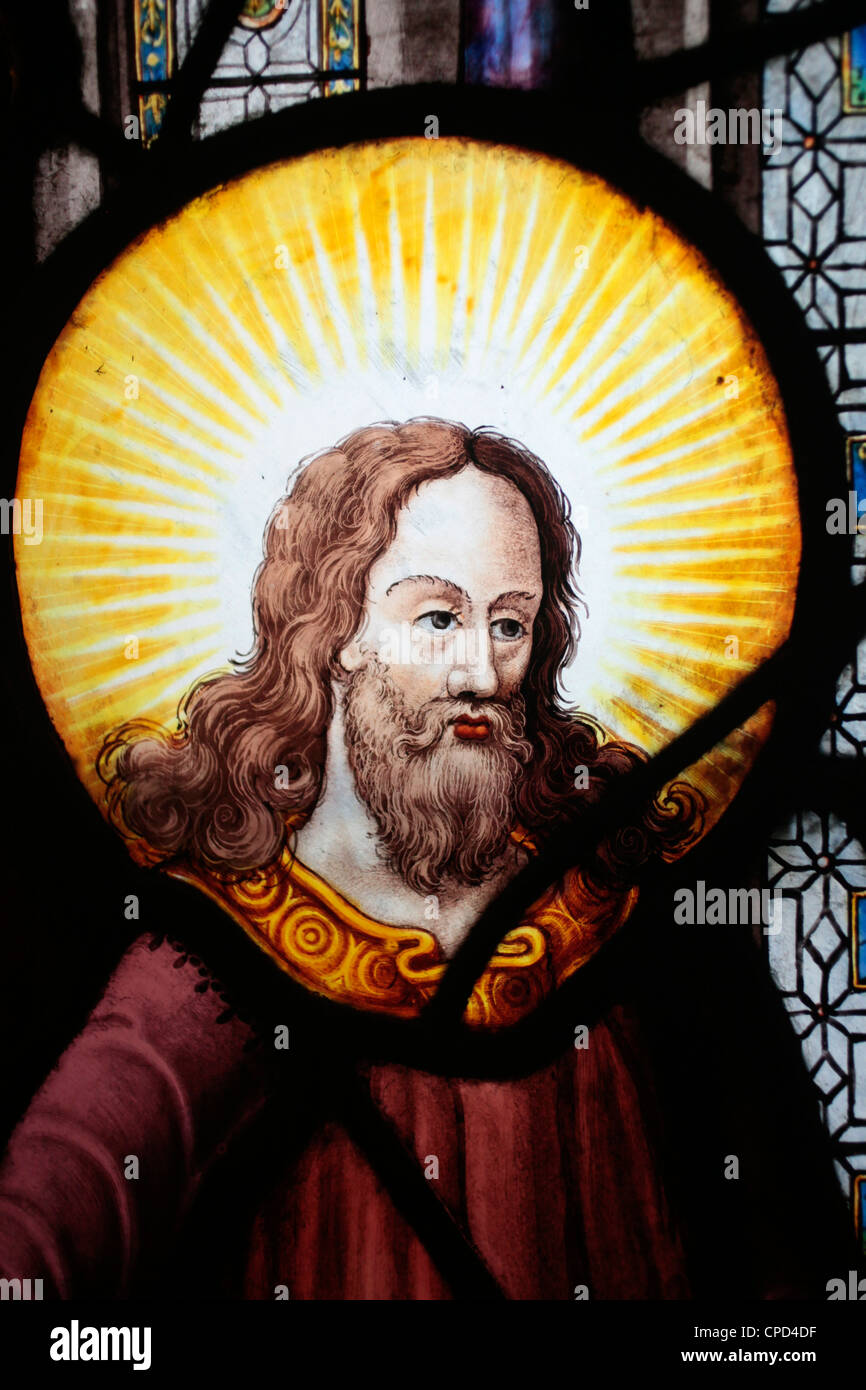 Jesus in stained glass in Saint-Etienne-du-Mont church, Paris, France, Europe - Stock Image