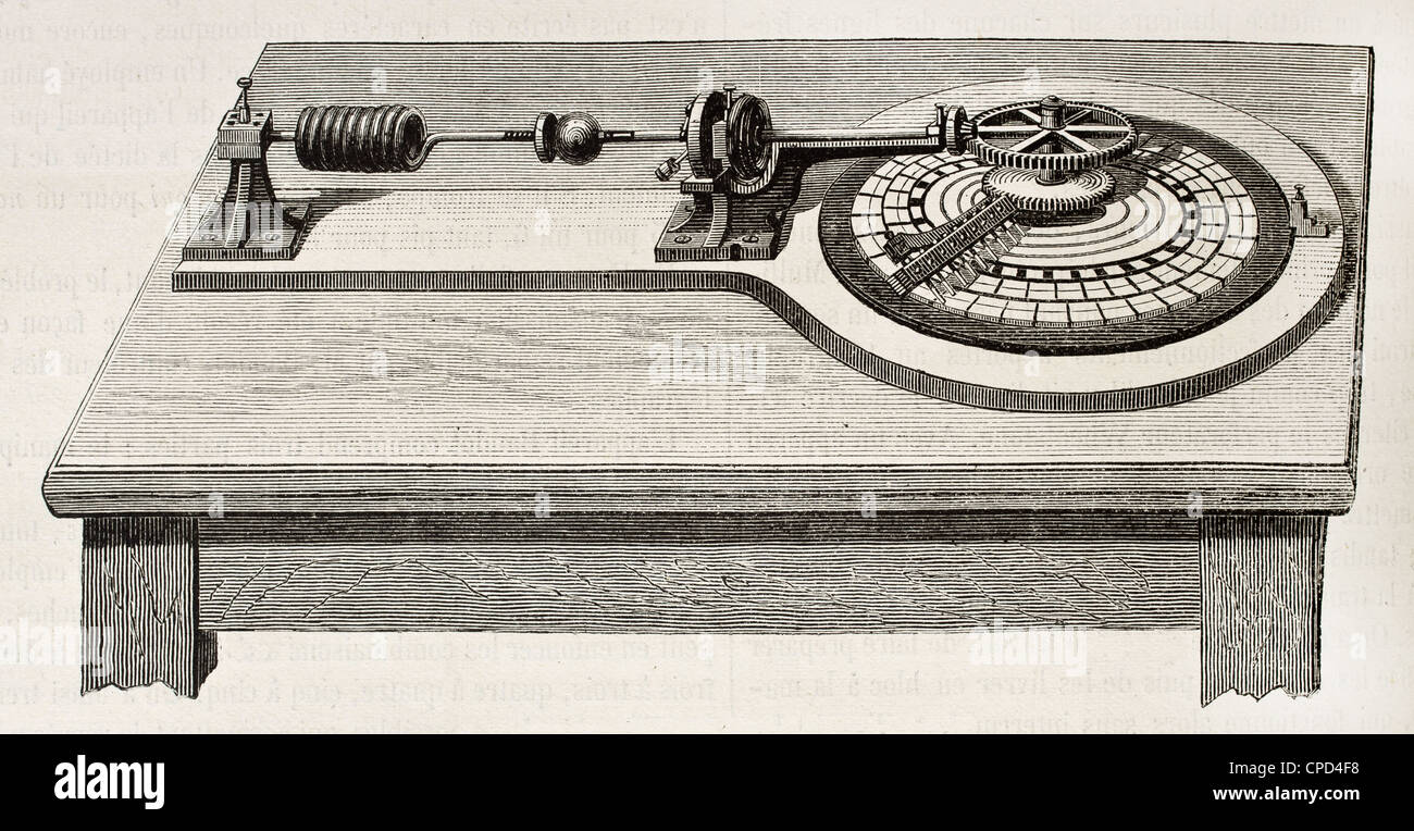 Electric distributor for telegraphic transmission invented by Emile Baudot (1845-1903) Stock Photo