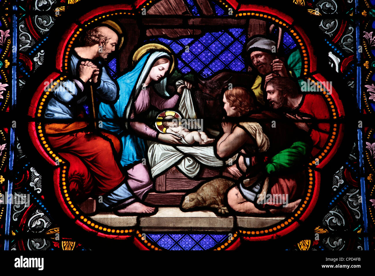 Nativity stained glass in Sainte Clotilde church, Paris, France, Europe Stock Photo