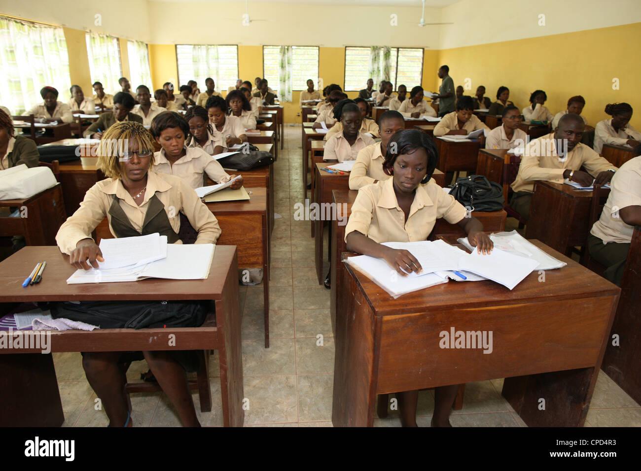 Catholic high school, Lome, Togo, West Africa, Africa - Stock Image
