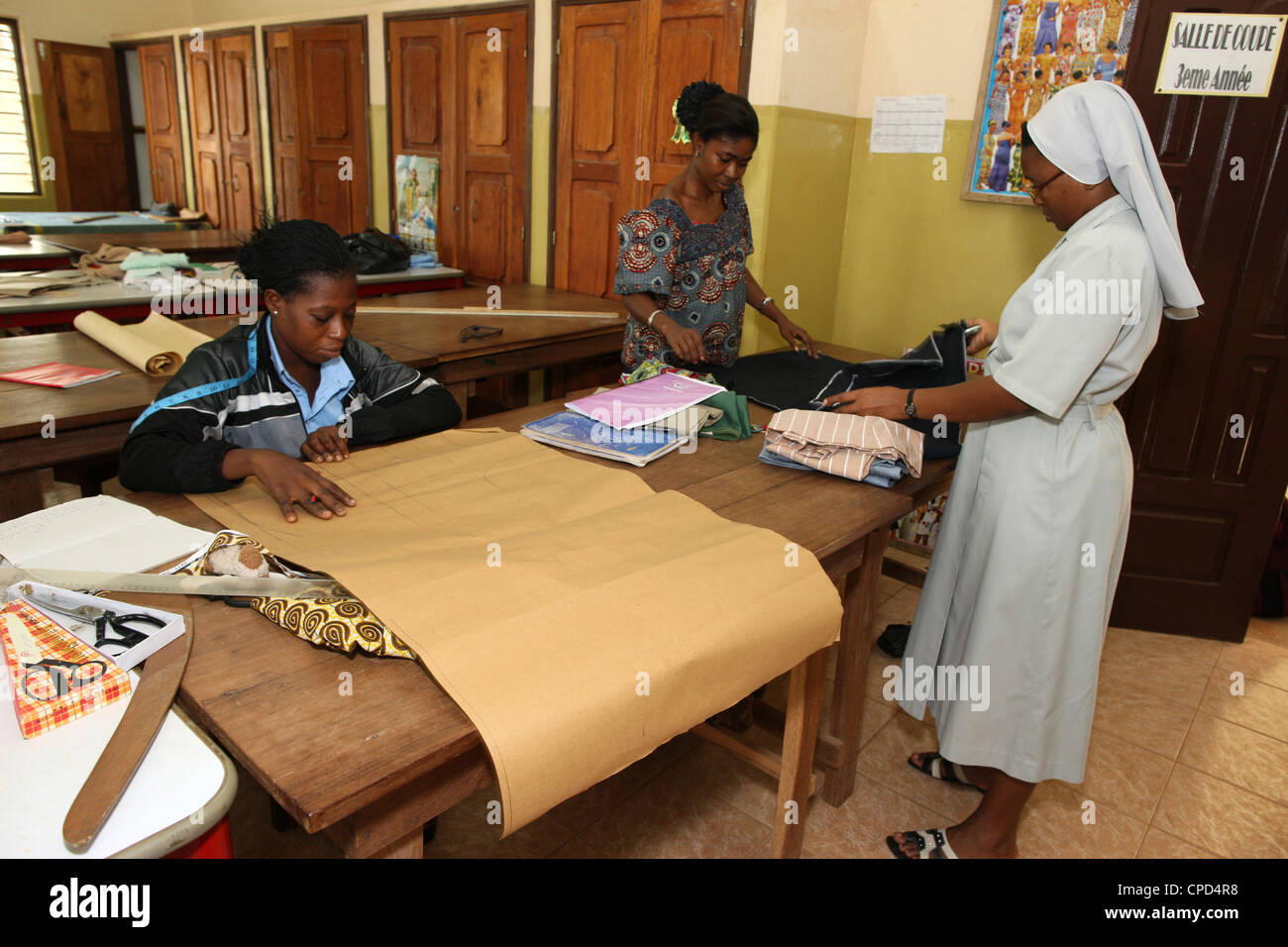 Tailoring workshop in a Catholic high school, Lome, Togo, West Africa, Africa - Stock Image