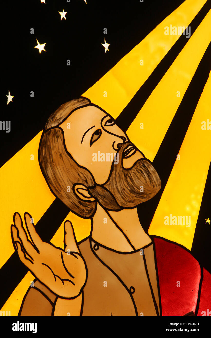 Stained glass of Abraham, Lome, Togo, West Africa, Africa - Stock Image