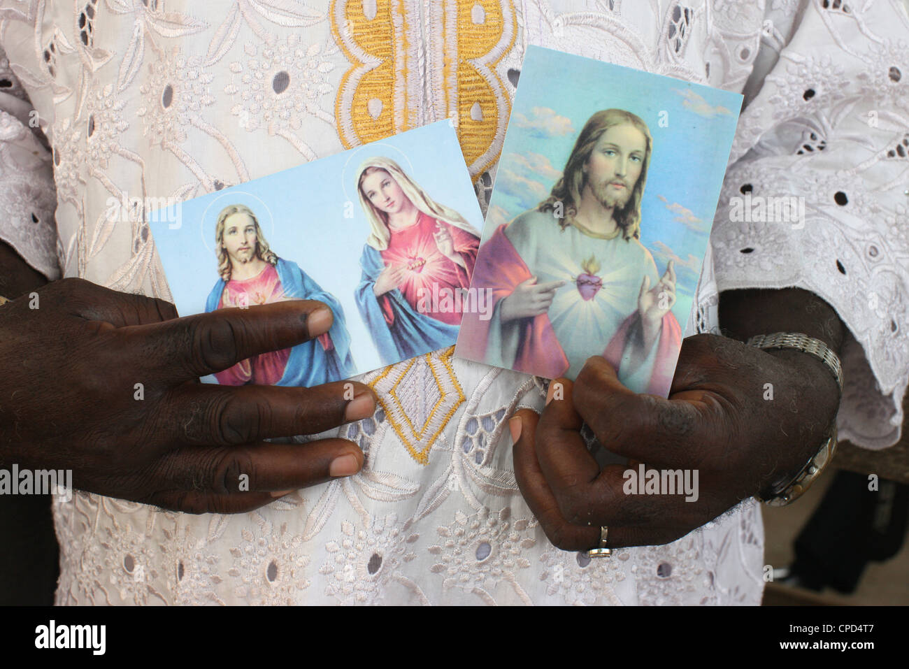 Religious images of Christ and Mary, Lome, Togo, West Africa, Africa - Stock Image
