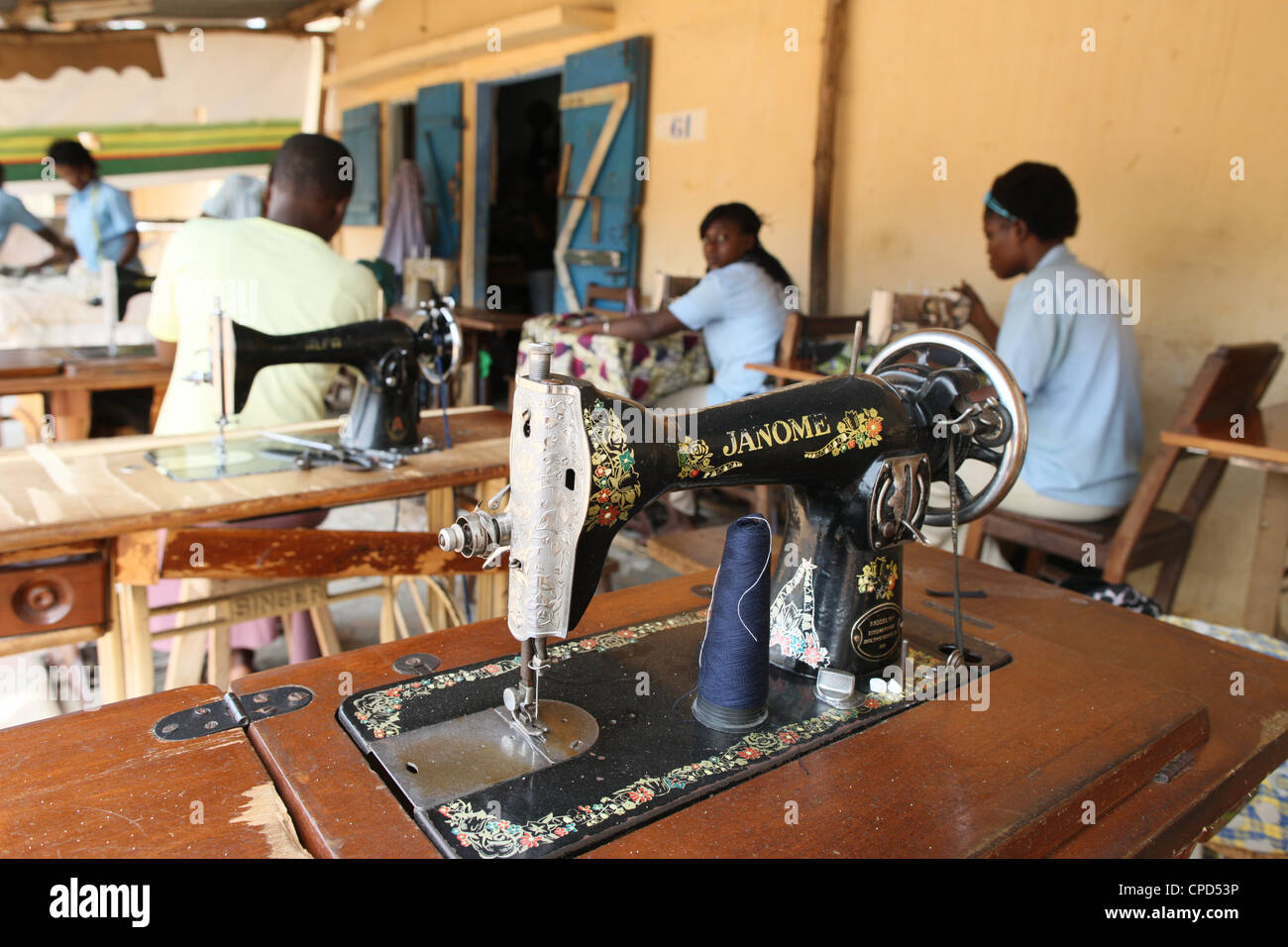 Tailoring workshop, Lome, Togo, West Africa, Africa - Stock Image