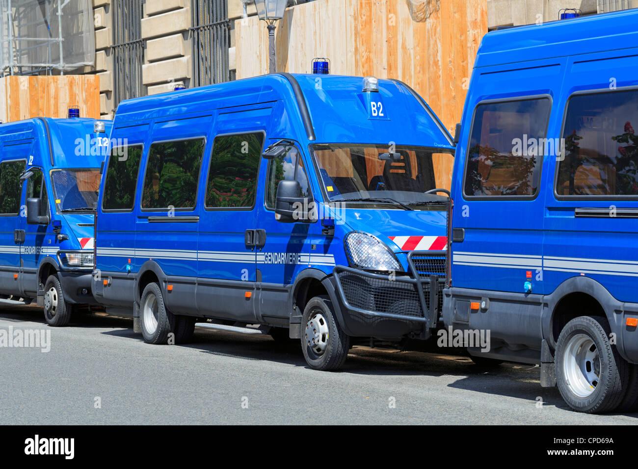 Gendarmerie vans parked on the Ile de la Cite, Paris - Stock Image