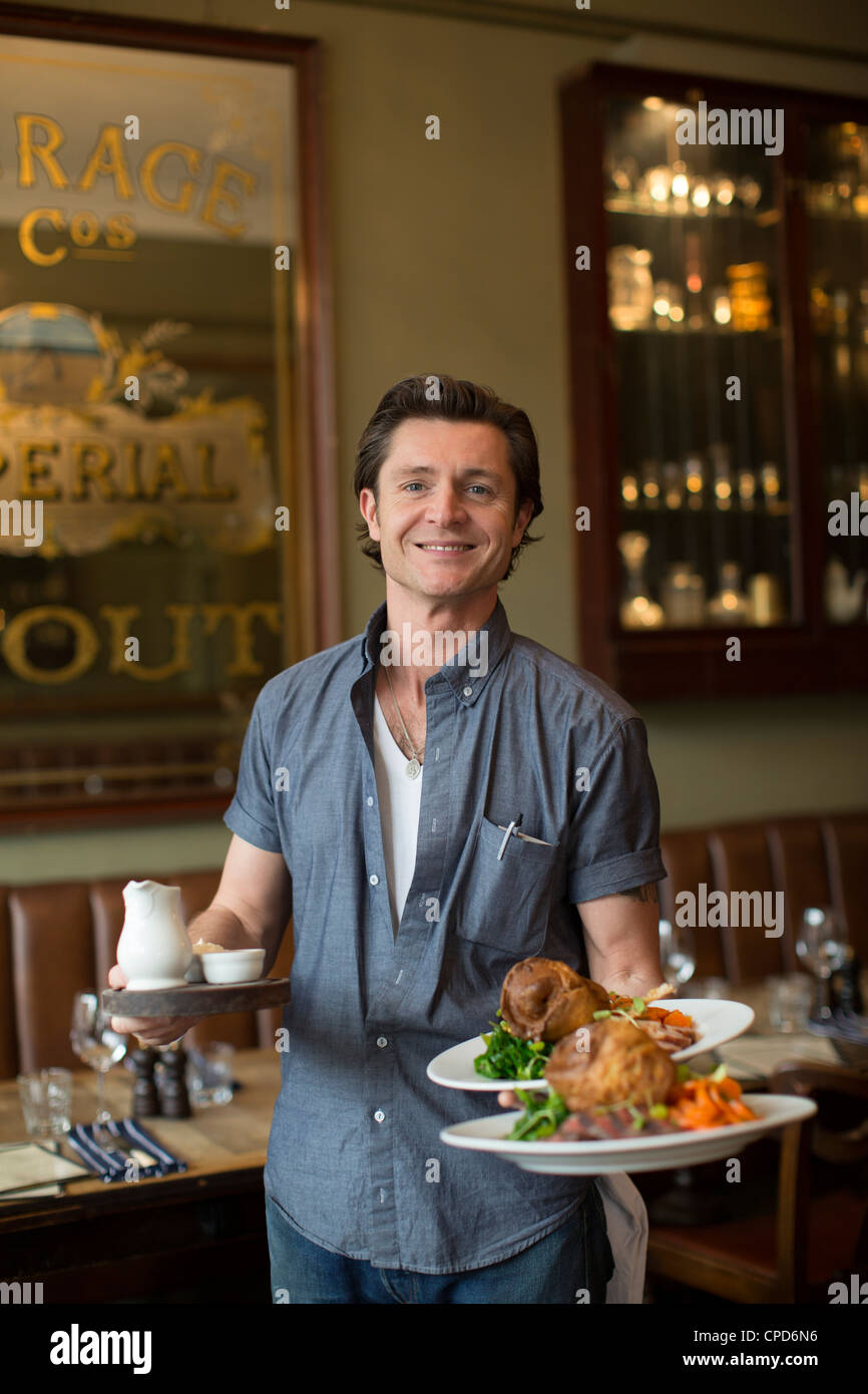 Traditional Sunday Lunch at the Mall Tavern pub London UK - Stock Image