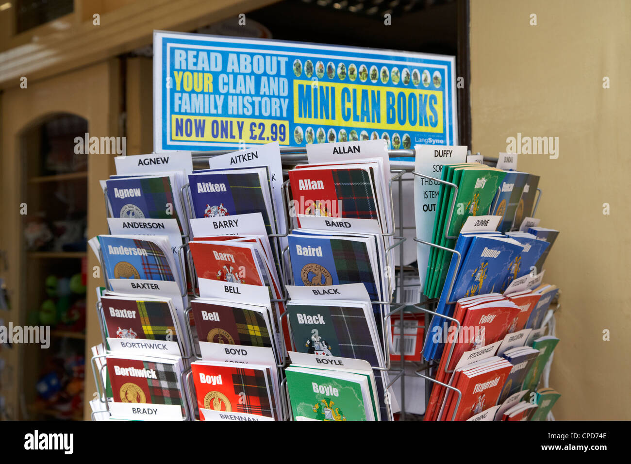 selection of scottish and irish clan history books in a shop