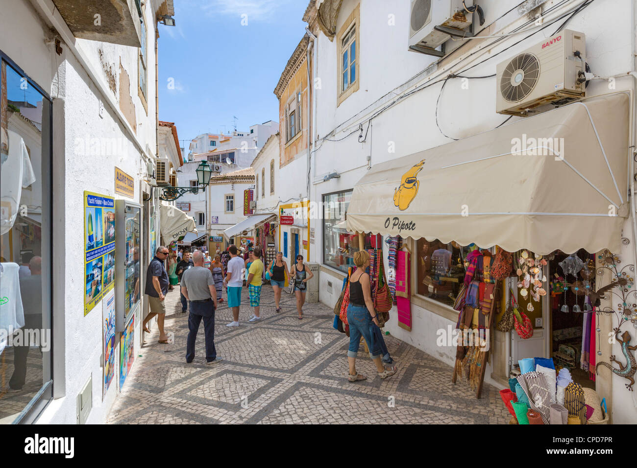 Shops in the old town centre, Albufeira, Algarve, Portugal - Stock Image