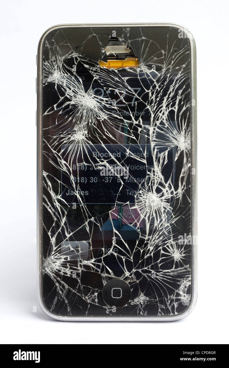 iPhone with cracked glass - Stock Image