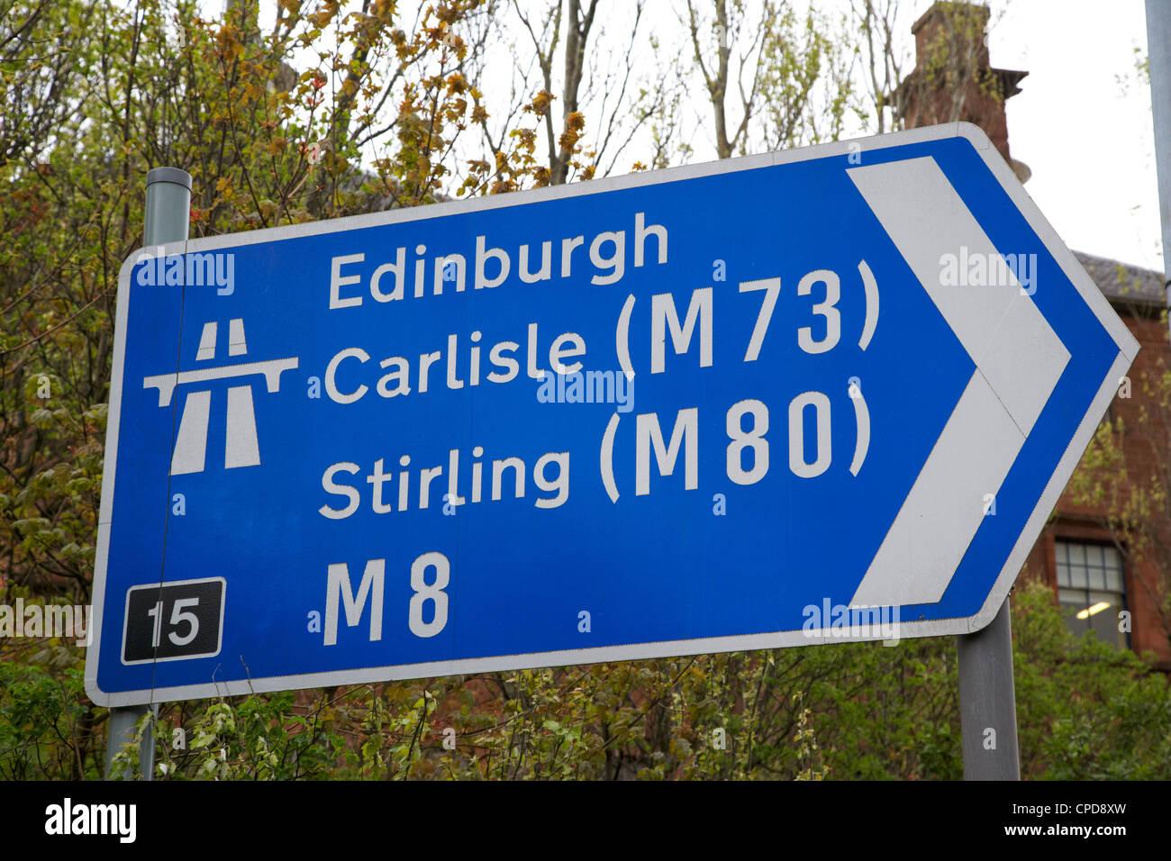 M8 motorway sign in Glasgow Scotland UK - Stock Image