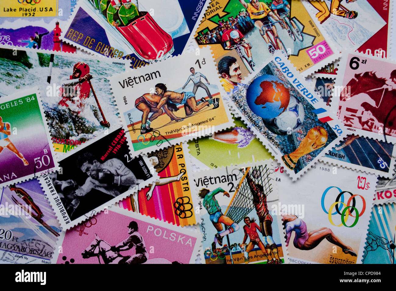 A collection of sport stamps from different countries, such as Vietnam, Cabo Verde, Korea, Poland and others - Stock Image