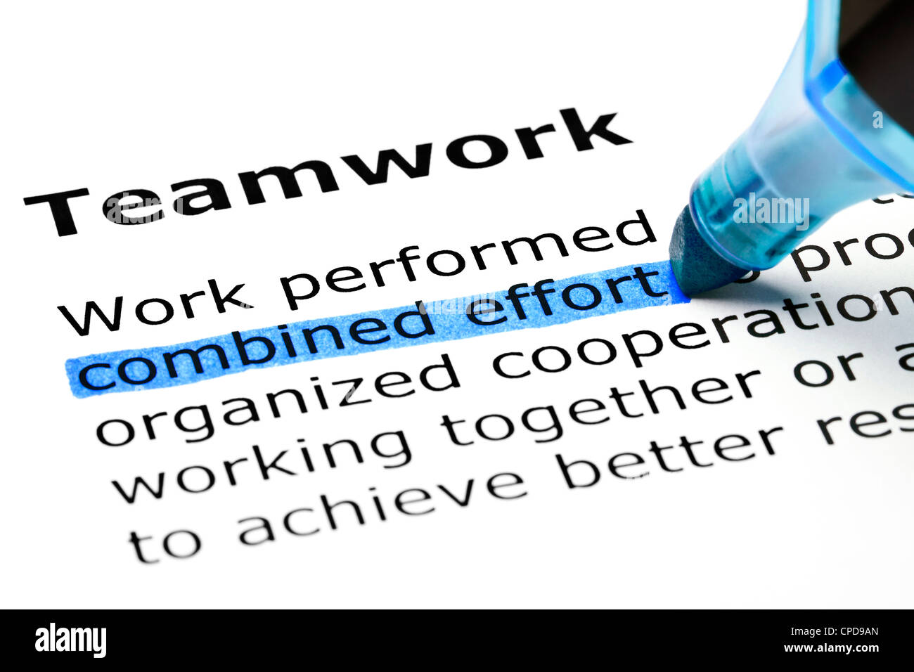 Combined effort highlighted in blue, under the heading Teamwork - Stock Image