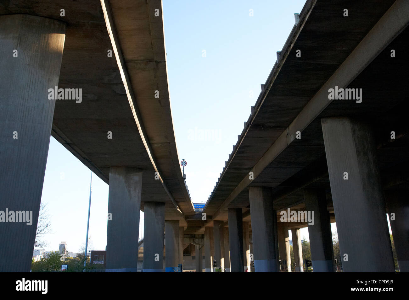 underneath the m8 elevated motorway overpass in central Glasgow Scotland UK - Stock Image