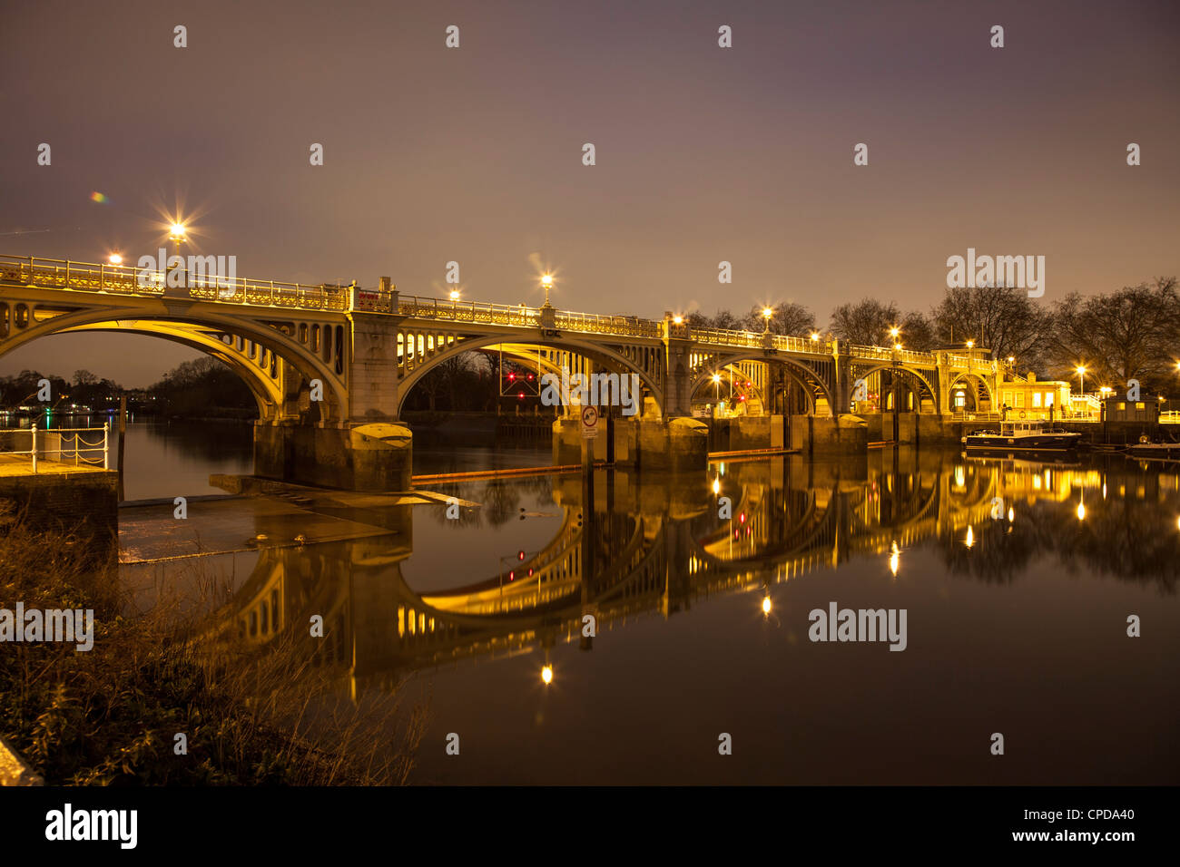 Richmond Lock on the River Thames at Night,Richmond Upon Thames,Surrey,England Stock Photo