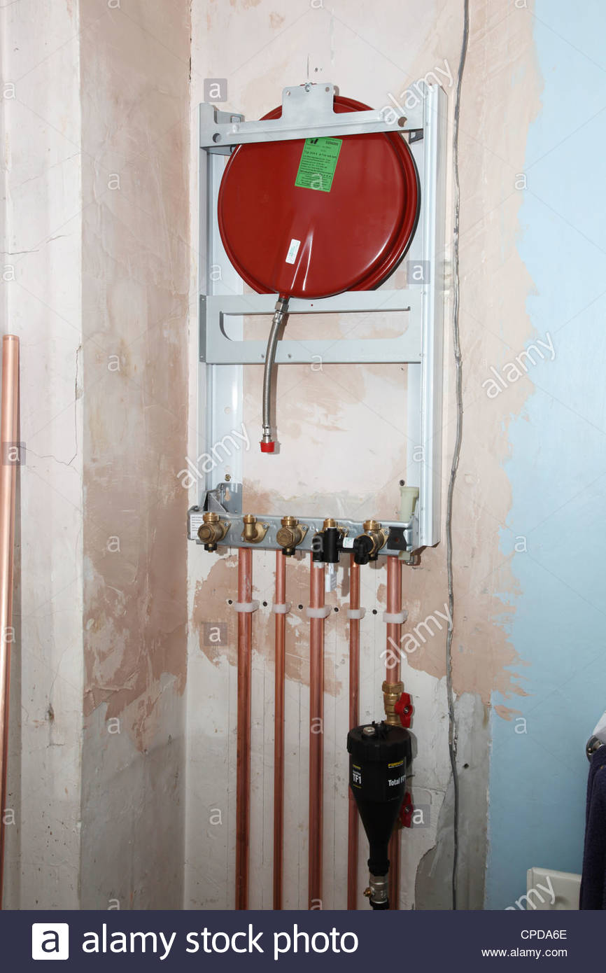 Worcester Bosch combination boiler, part fitted. - Stock Image