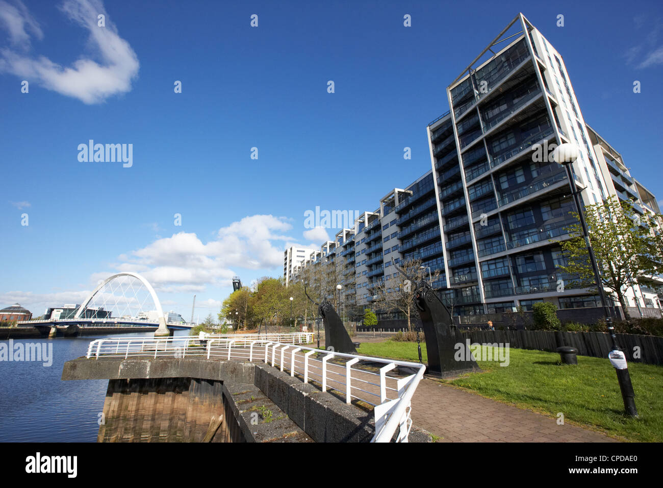 lancefield quay apartments on the redeveloped river clyde finnieston Glasgow Scotland UK - Stock Image