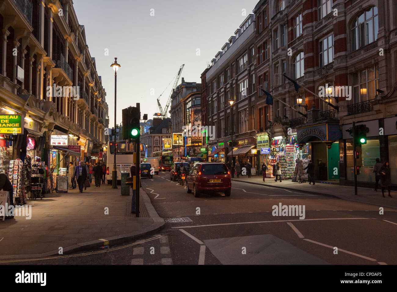 Shaftesbury Avenue in the London West End at Night - Stock Image