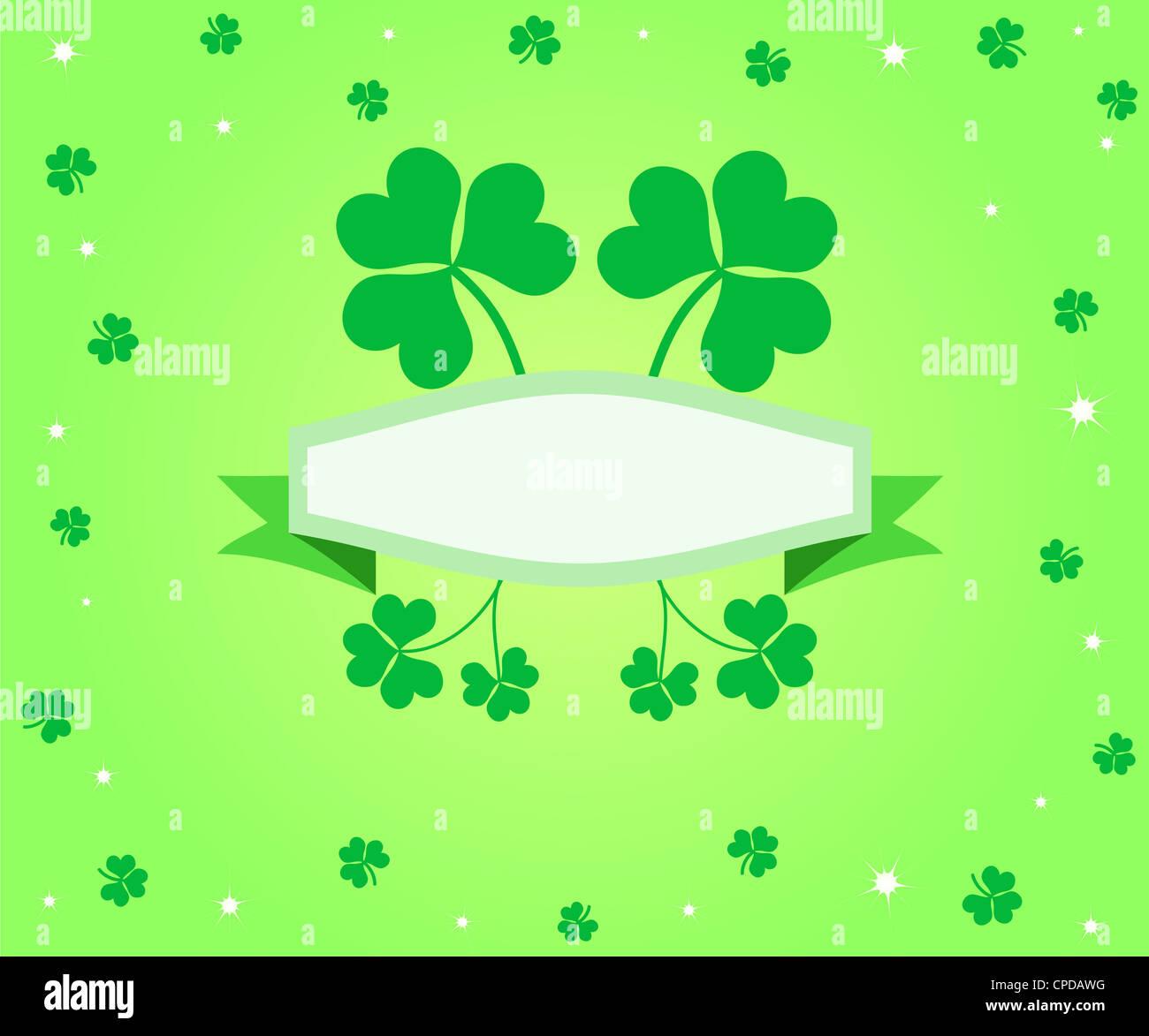 Green lucky shamrocks banner Stock Photo