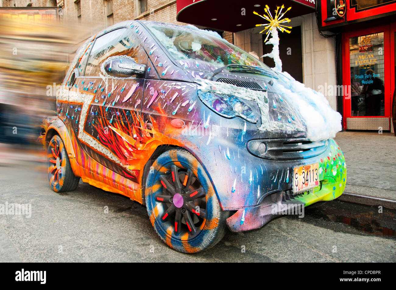 funky decorated parked car - Stock Image