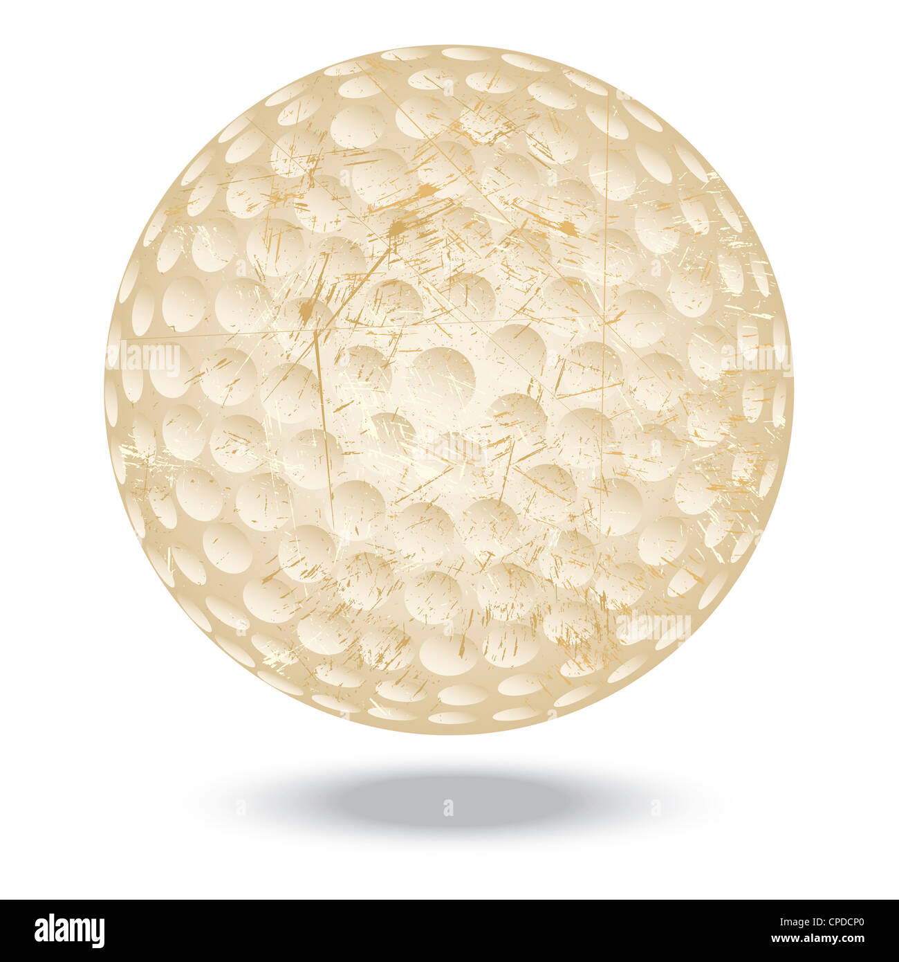 Illustration Of Highly Rendered Vintage Golf Ball Isolated In White Background