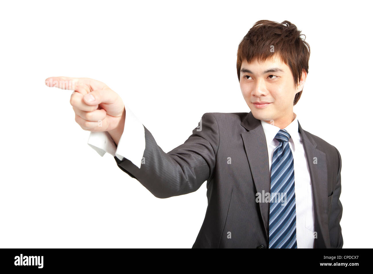 asian businessman finger pointing - Stock Image
