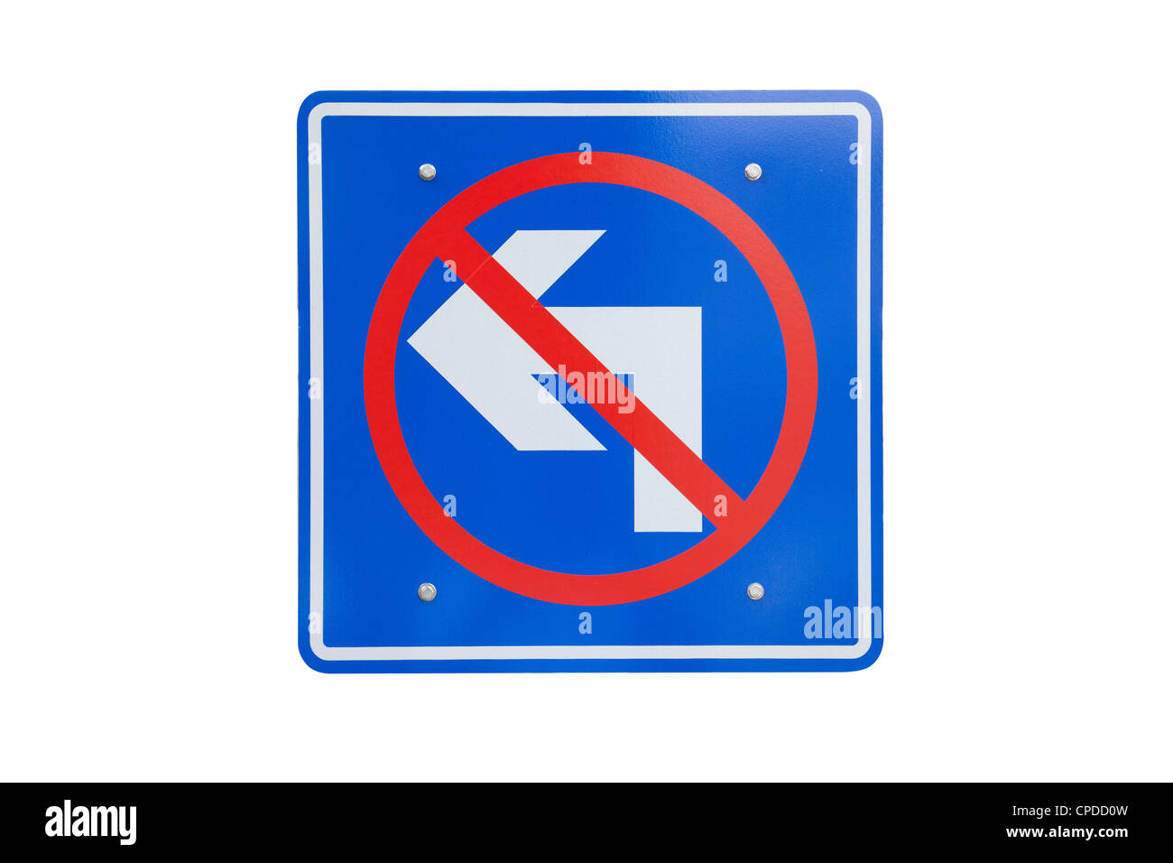 Road sign don't turn left isolated - Stock Image