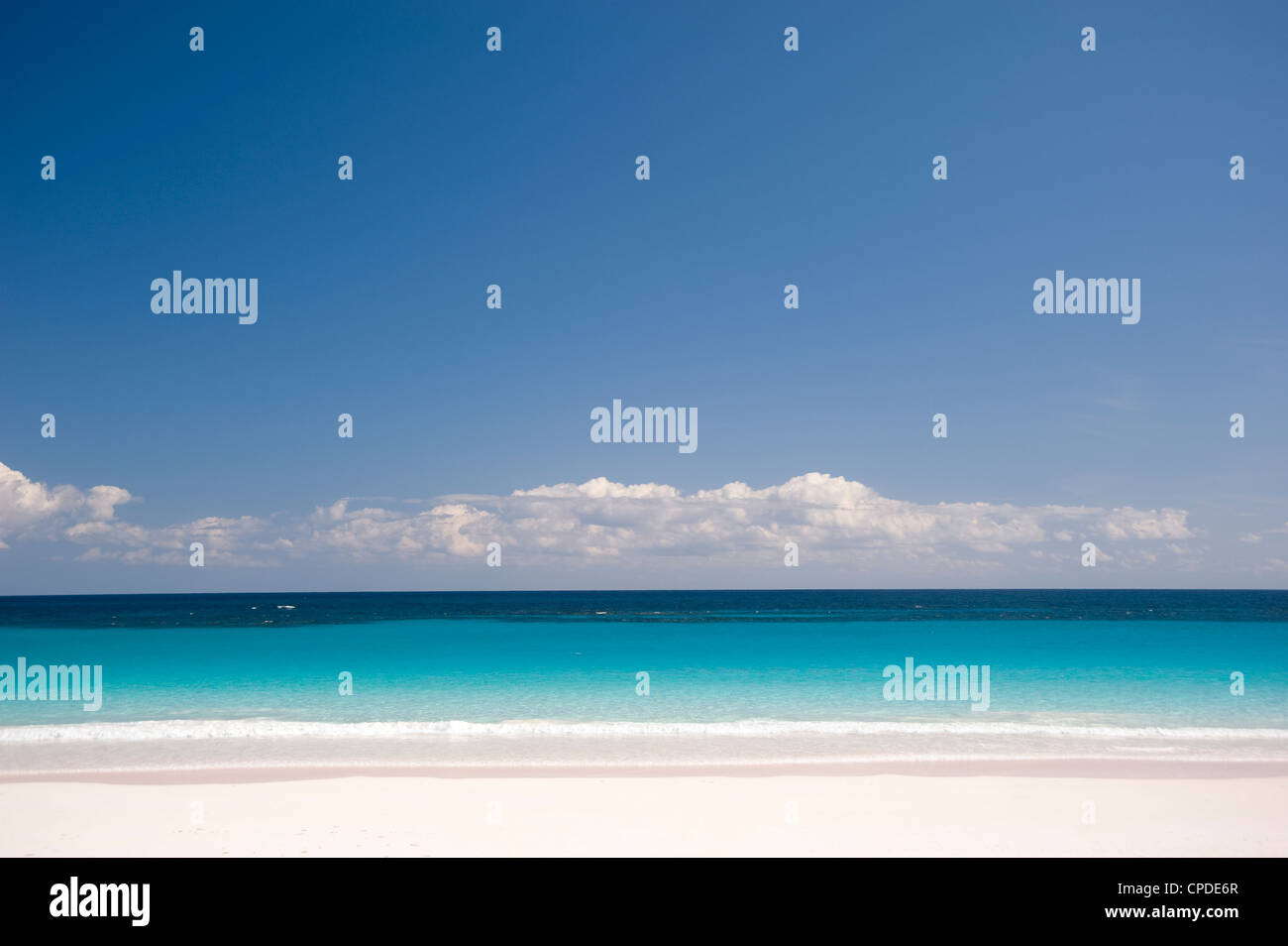 Gentle surf on Pink Sands Beach, Harbour Island, Eleuthera, The Bahamas, West Indies, Atlantic, Central America - Stock Image