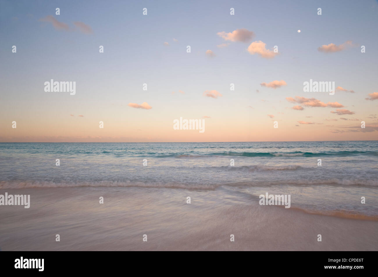 Clouds at sunset over Pink Sands Beach, Harbour Island, Eleuthera, The Bahamas, West Indies, Atlantic, Central America - Stock Image