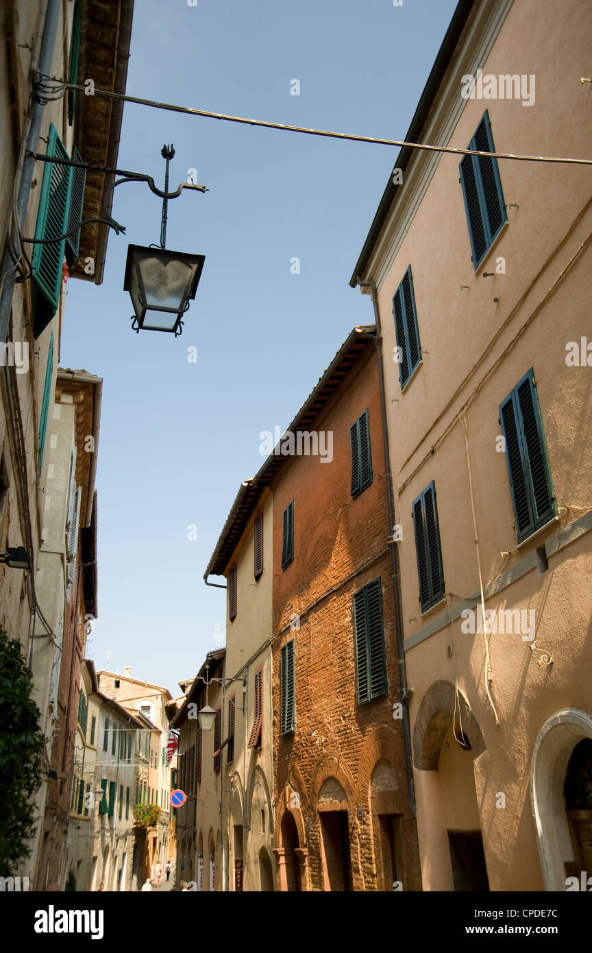A street of old houses in Montalcino, Tuscany, Italy, Europe - Stock Image