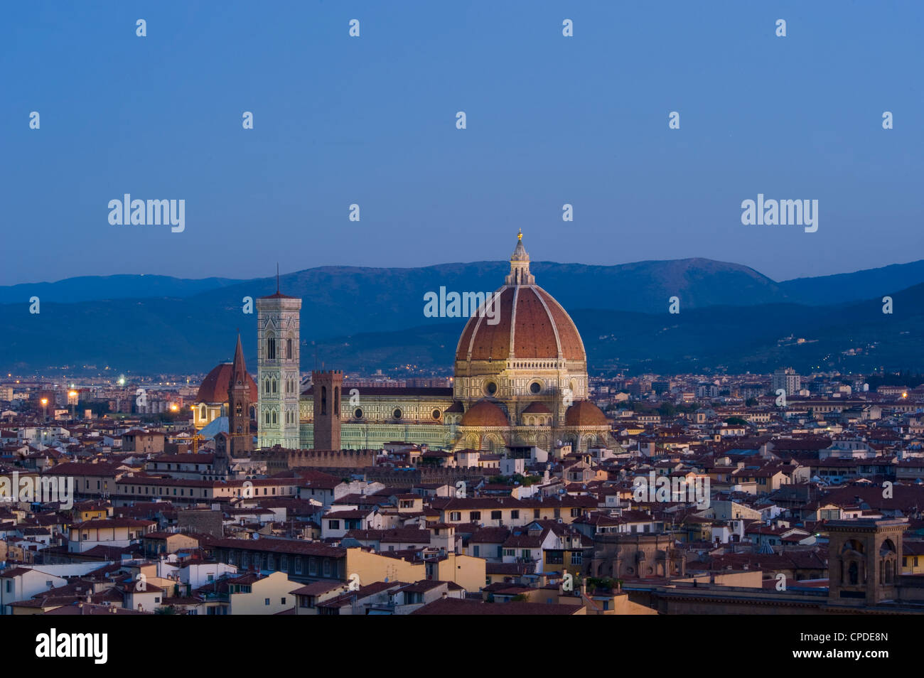 A view of Florence, the Duomo and Campanile at sunrise, Florence, UNESCO World Heritage Site, Tuscany, Italy, Europe - Stock Image