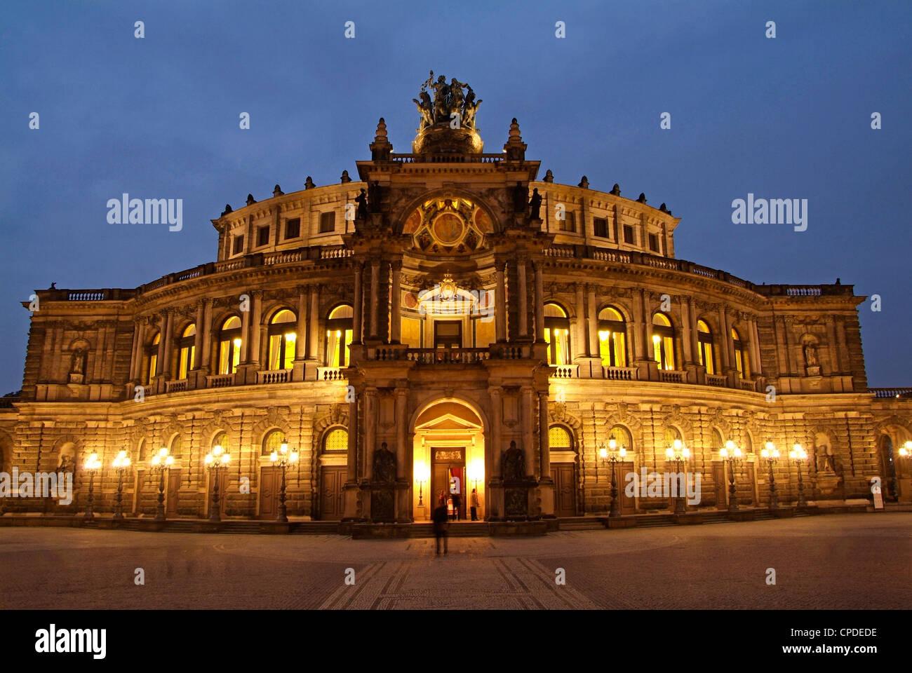 Semper Opera, Dresden, Saxony, Germany, Europe - Stock Image