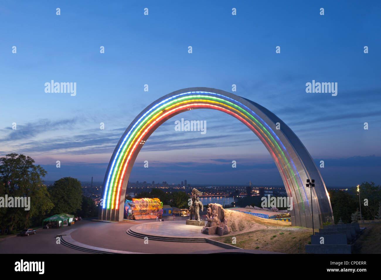 Rainbow Arch, Friendship of Nations Monument, Kiev, Ukraine, Europe Stock Photo