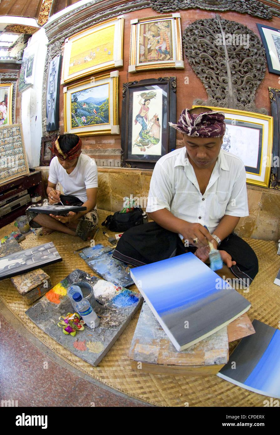 Balinese artists, Ubud, Bali, Indonesia. - Stock Image