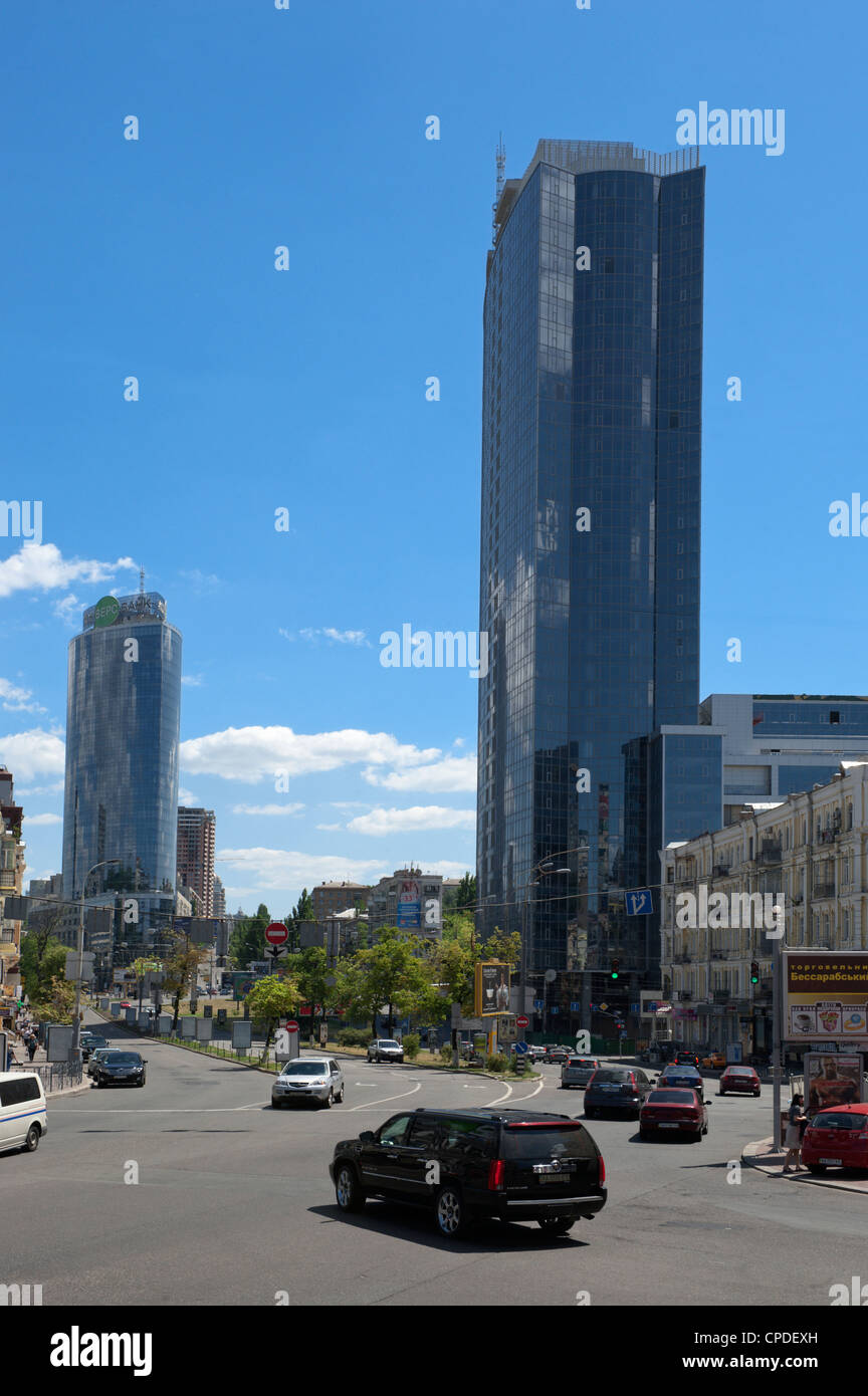 Office buildings, Lesi Ukrainky Boulevard, Kiev, Ukraine, Europe - Stock Image