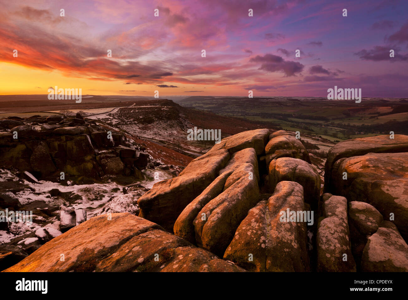 Frosty winter sunrise, Froggatt and Curbar Edge, Peak District National Park, Derbyshire, England, United Kingdom, - Stock Image