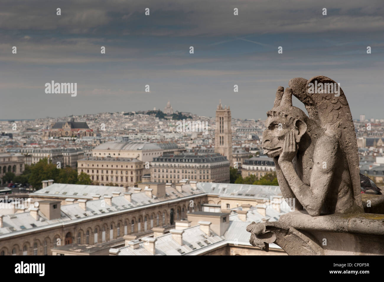 Gargoyle of Gothic Notre Dame Cathedral and the Right Bank with Basilica of Sacre Coeur, Paris, France, Europe - Stock Image