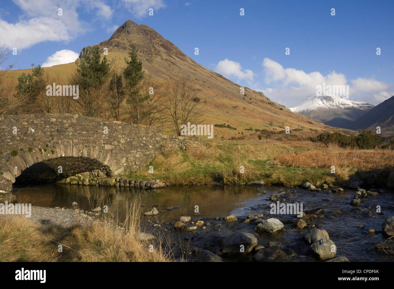 Yewbarrow 2058 ft, from Over Beck Bridge, Wasdale, Lake District National Park, Cumbria, England, United Kingdom, - Stock Image