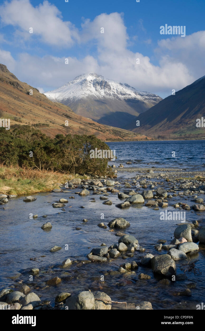 Great Gable 2949 ft, from Overbeck and Lake Wastwater, Wasdale, Lake District National Park, Cumbria, England, United - Stock Image