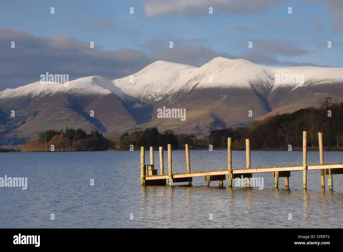 Across Lake Derwentwater to Skiddaw 3054ft, Keswick, Lake District Nationbal Park, Cumbria, England, United Kingdom, - Stock Image