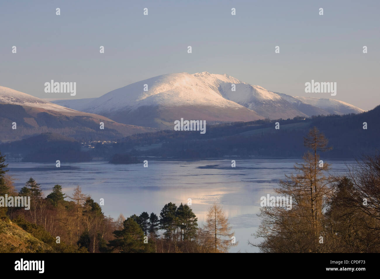 View from Grange road over Derwentwater to Saddleback [Blencathra], Lake District National Park, Cumbria, England, - Stock Image