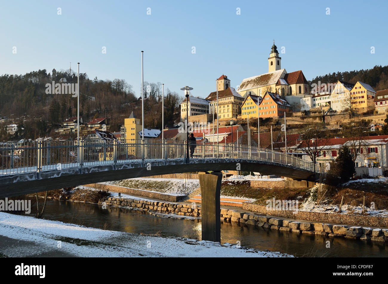 Old town of Horb and the frozen River Neckar, Neckartal (Neckar Valley), Baden-Wurttemberg, Germany, Europe - Stock Image