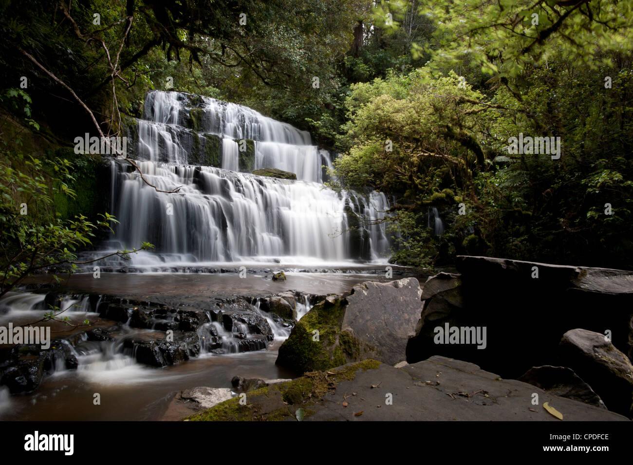 Purakaunui Falls, Southland, South Island, New Zealand, Pacific - Stock Image