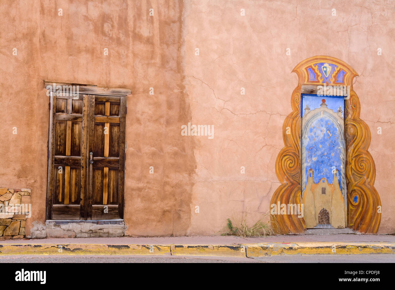 Doors in Santa Fe, New Mexico, United States of America, North America - Stock Image