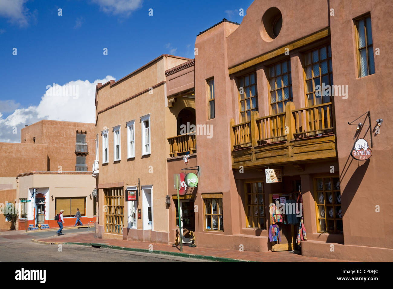 Water Street, Santa Fe, New Mexico, United States of America, North America - Stock Image